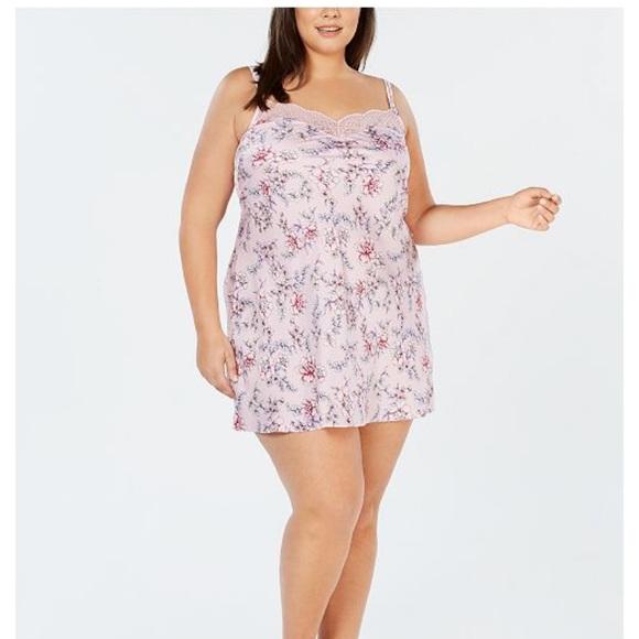 50c56b06afec Inc international satin floral lace trim chemise. NWT. INC International  Concepts